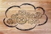 Cloud computing, roliga enheter och cloud design — Stockfoto