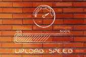Internet and data transfer rate or speed — ストック写真