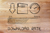 Internet and data transfer rate or speed — Stock Photo