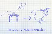 Travel industry: airplane and luggage going to North America — Stock Photo