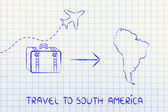 Travel industry: airplane and luggage going to South America — Foto de Stock