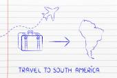 Travel industry: airplane and luggage going to South America — Photo