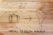 Travel industry: airplane and luggage going to South America — Stock Photo
