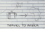Travel industry: airplane and luggage going to Africa — Photo