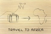 Travel industry: airplane and luggage going to Africa — Stock Photo