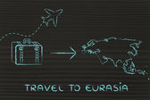 Travel industry: airplane and luggage going to Eurasia — Photo