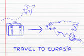 Travel industry: airplane and luggage going to Eurasia — Stock Photo