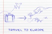 Travel industry: airplane and luggage going to Europe — Photo