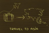Travel industry: airplane and luggage going to Asia — Photo