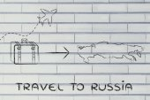 Travel industry: airplane and luggage going to Russia — Photo