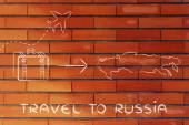Travel industry: airplane and luggage going to Russia — Stock Photo