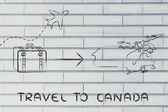 Travel industry: airplane and luggage going to Canada — Stok fotoğraf