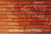 Travel industry: world map with airplane routes — Stok fotoğraf
