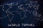 Travel industry: world map with airplane routes — Stock Photo