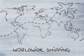 Worldwide shipping: world map with airplane routes — Stok fotoğraf