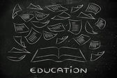 Education is the key, book with pages flying around — Foto de Stock