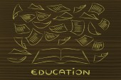 Education is the key, book with pages flying around — Stock Photo
