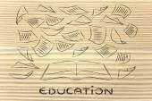 Education is the key, book with pages flying around — Foto Stock