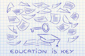 Education is the key, book with pages flying around — Zdjęcie stockowe
