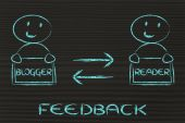 Communication and feedback between blogger and reader — 图库照片