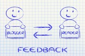 Communication and feedback between blogger and reader — Stock Photo