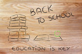 Back to school: pile of books, open book and apple — Foto de Stock