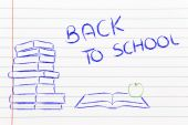Back to school: pile of books, open book and apple — 图库照片