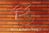 E-Learning, globale online-Kurse und Graduierung cap — Stockfoto