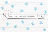 Search bar with santa claus hat, concept of Christmas shopping online — Stock Photo