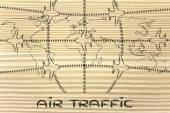 Travel industry: airplanes and air traffic over world map — Stockfoto