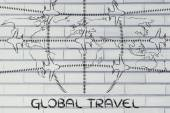 Travel industry: airplanes and air traffic over world map — Stock Photo