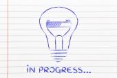 Funny lightbulb with progress bar inside, innovation and new idea — Foto Stock