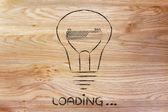 Loading: lightbulb with progress bar inside — Foto Stock