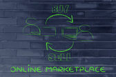 New kind of business, the online marketplace to sell and buy — Stock Photo