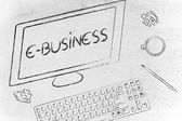 E-business text on computer screen — Stock Photo