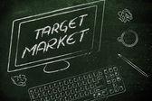 Target Market text on computer screen — Foto de Stock
