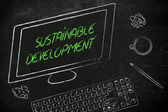 Sustainable development text on computer screen — Stock Photo