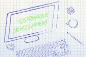 コンピューター画面上の持続可能な開発のテキスト — ストック写真