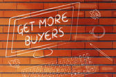 Get more Buyers text on computer screen — Stock Photo