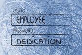 User Employee, password Dedication — Stock Photo