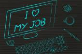 Computer screen saying I love my job — Fotografia Stock