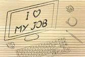 Ekranie komputera mówiąc, że kocham moją pracę — Zdjęcie stockowe