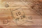 Dokumenty, mówiąc, że kocham moją pracę — Zdjęcie stockowe