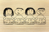 People holding panels — 图库照片