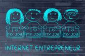 Entrepreneurs holding panels — Fotografia Stock