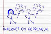 Entrepreneurs holding panels — Stock Photo