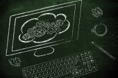 Computer with cloud computing — Stock Photo