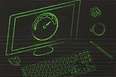 Computer with speedometer — Stock Photo