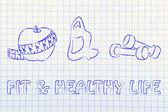 Dopasowanie życia i zdrowej żywności — Zdjęcie stockowe