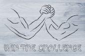 Trial of strength, arm wrestling design — Stock Photo